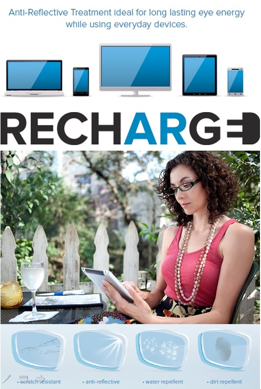 Hoya Recharge Anti Reflective Lens treatment is ideal for long lasting eye energy while using eyeryday devices.
