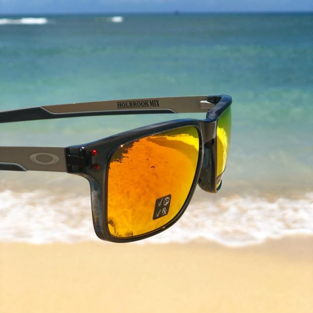 Photo of Oakley sunglasses, Model: Holbrook at the beach.