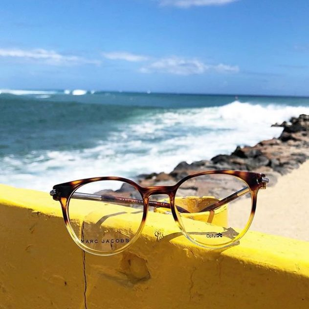 Marc Jacobs eyeglasses at the beach