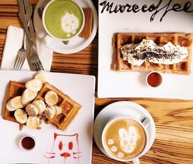 A photo of a breakfast of coffee and waffles from Moore Coffee Shop.