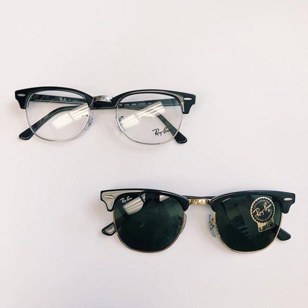 Photograph of 2 pairs of Ray Ban eyeglasses and sunglasses at the office of eye doctors Daniel Yamamoto & Tracie Inouchi.