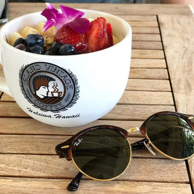 Ray Ban sunglasses and a cup of Island VIntage Coffee in Haleiwa , Hawaii